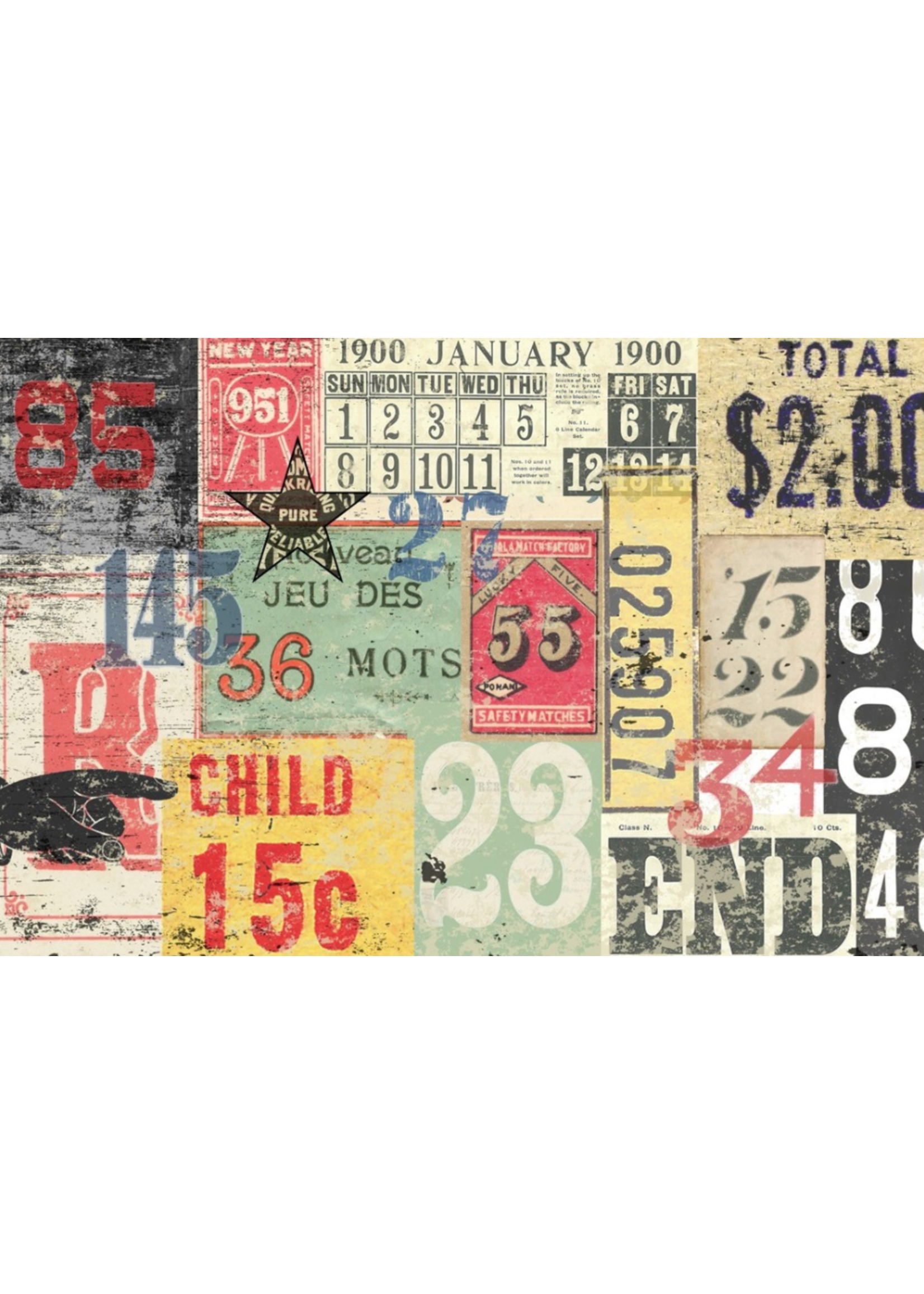 Roycycled Treasures Numbered Decollage Decoupage Paper