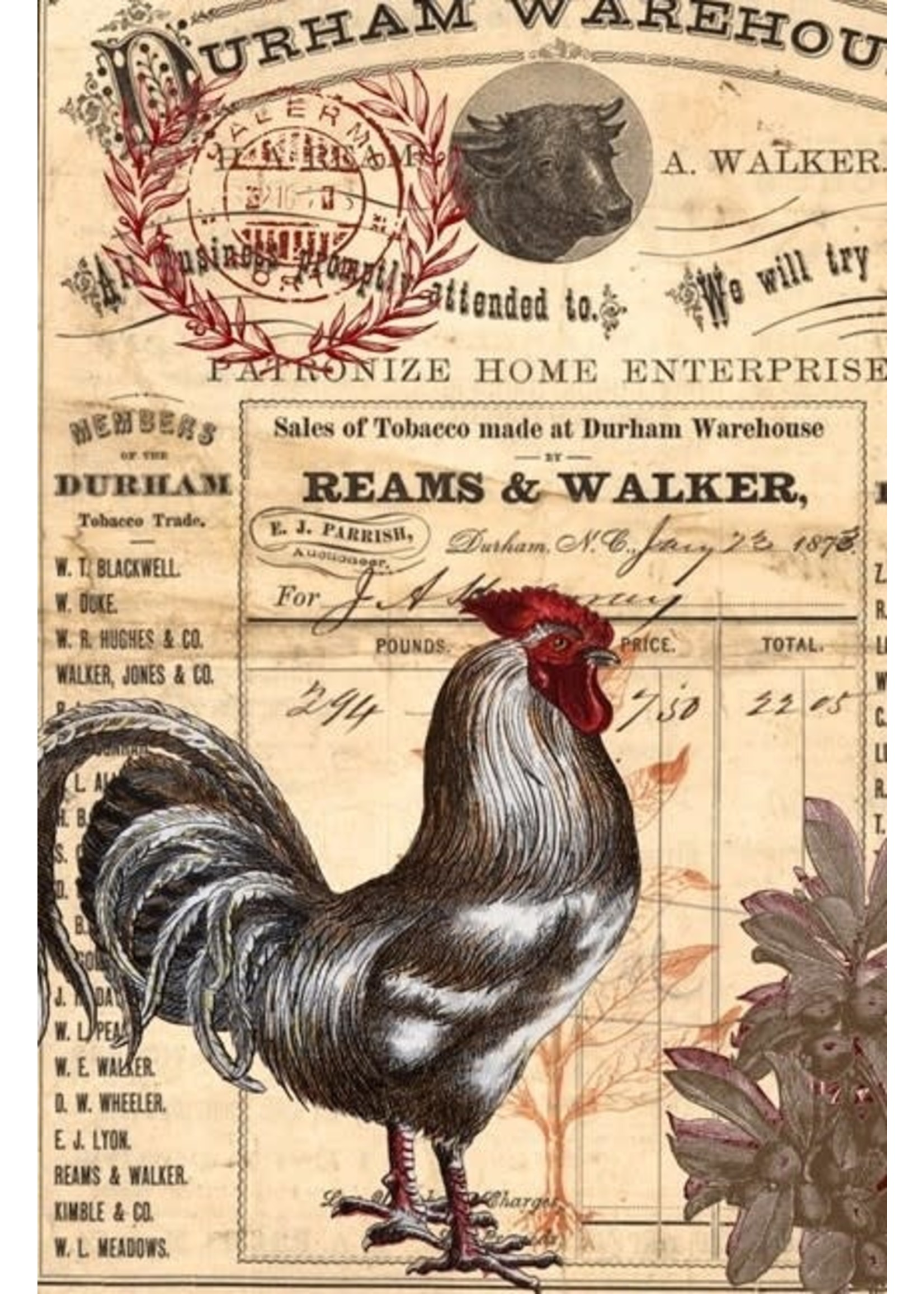 Roycycled Treasures Red Rooster Decoupage Paper