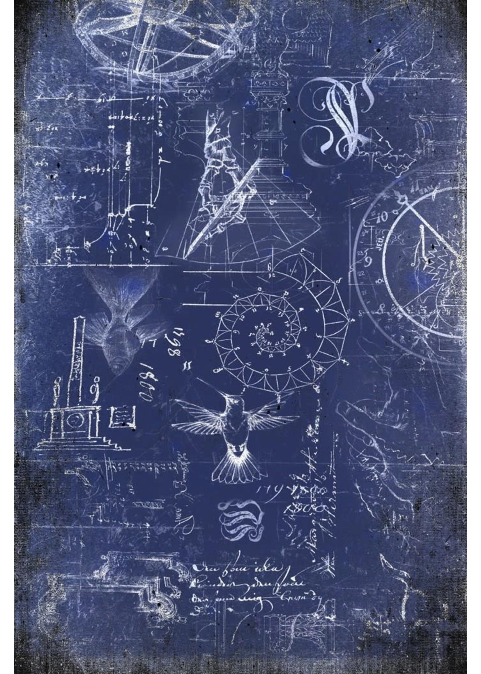 Roycycled Treasures Renaissance Blueprint Decoupage Paper