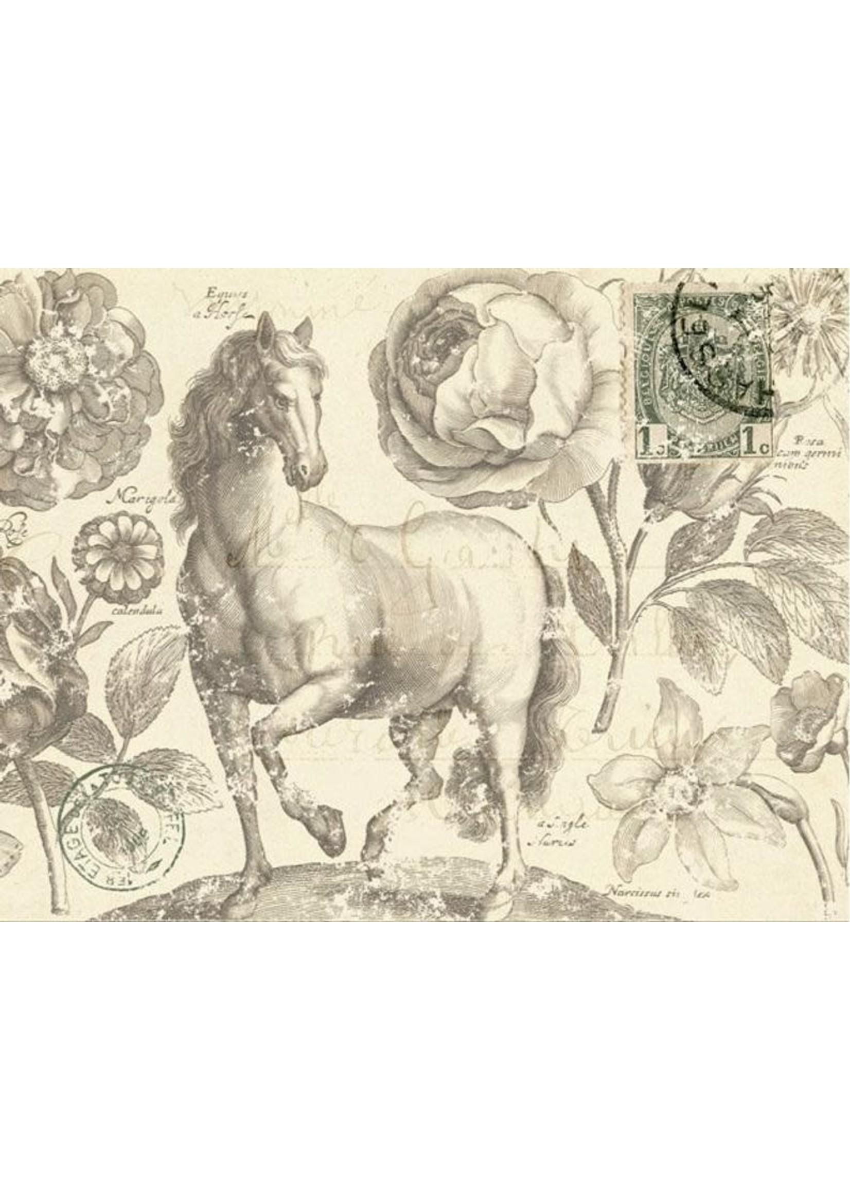Roycycled Treasures Botanical Equine Decoupage Paper  by Roycyled Treasures