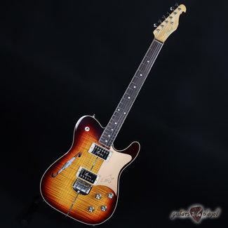 Elliott Elliott Raven Custom Flame Maple Semi-Hollow Electric Guitar - Tobacco Burst