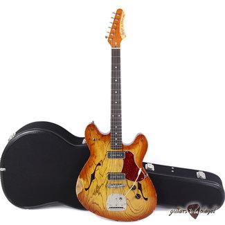 Fano Fano GF6 Alt de Facto Semi-Hollow Swamp Ash P-90 Guitar w/ Mastery - Amber Burst