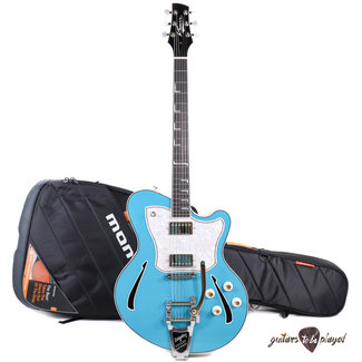 """Kauer Kauer Super Chief """"The Tree"""" Quilted Mahogany Back Semi-Hollow Guitar –Taos Blue"""