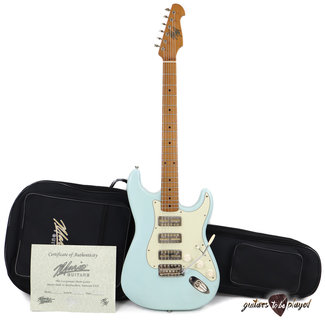 Mario Guitars Mario Martin Guitars 1pc Swamp Ash S-Style w/ Lollar GoldFoils, Roasted Maple Neck - Sonic Blue