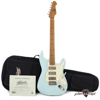 Mario Martin Mario Martin Guitars 1pc Swamp Ash S-Style w/ Lollar GoldFoils, Roasted Maple Neck - Sonic Blue
