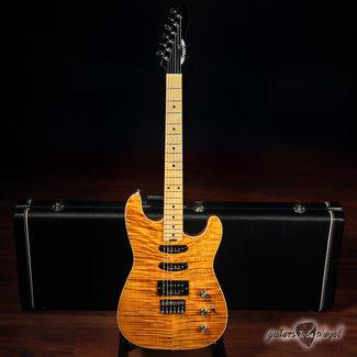 Aero3 Aero3 Guitars Model A-15 HSS Electric Guitar w/ Flame Maple – Amber Translucent
