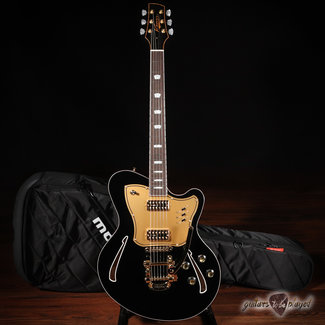 "Kauer Kauer Super Chief Black ""Excalibur"" Semi-Hollow Guitar w/ TV Jones & Bigsby"