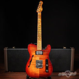 TMG TMG Gatton Custom Flame Top Thinline Electric Guitar w/ Case - Caramel Burst