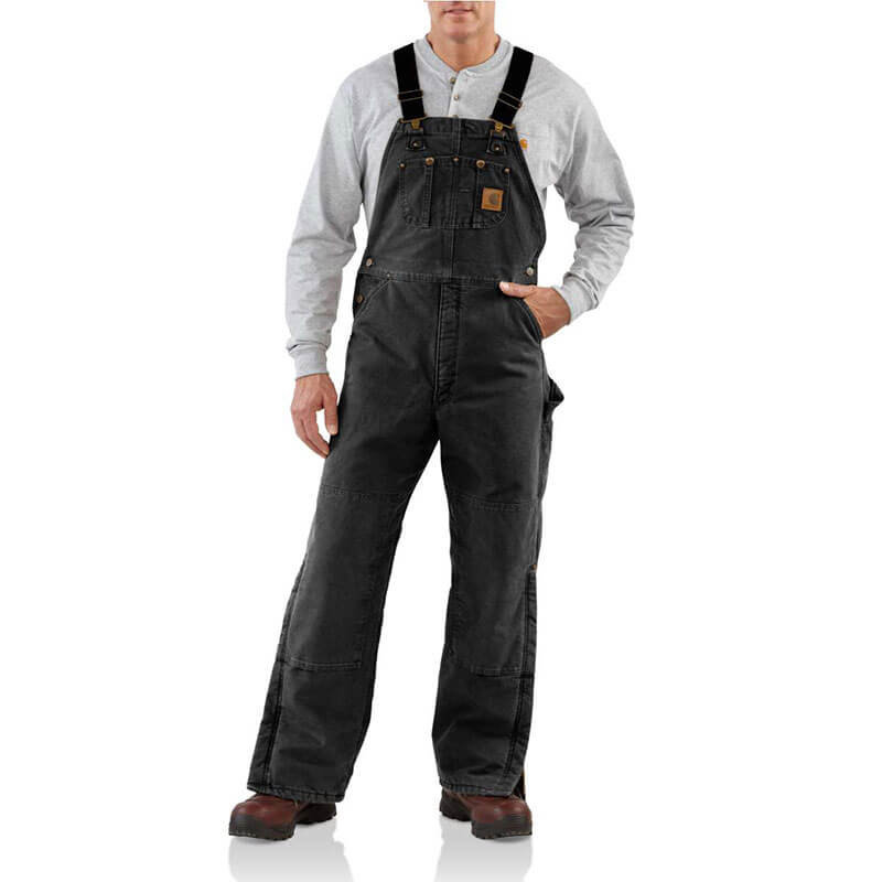 Carhartt Men's Quilt Lined Sandstone Bib Overall - R27 - CLOSEOUT