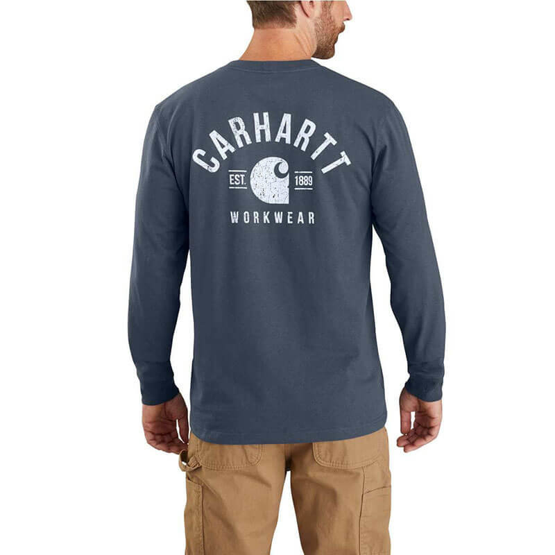Carhartt Heavyweight Logo Graphic Long Sleeve Pocket T-Shirt-104434 - CLOSEOUT