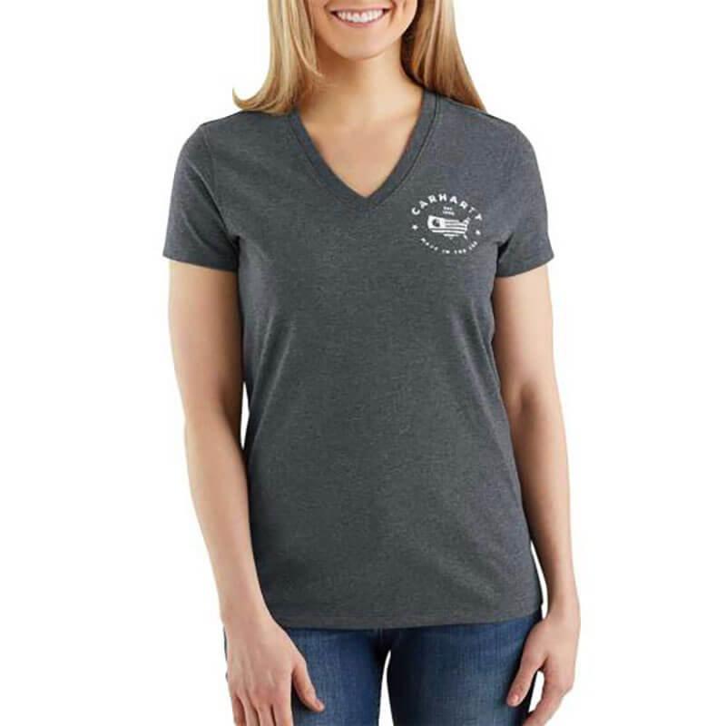 Carhartt Women's Lubbock USA Logo Short Sleeve V-Neck T-Shirt - 103058 - CLOSEOUT
