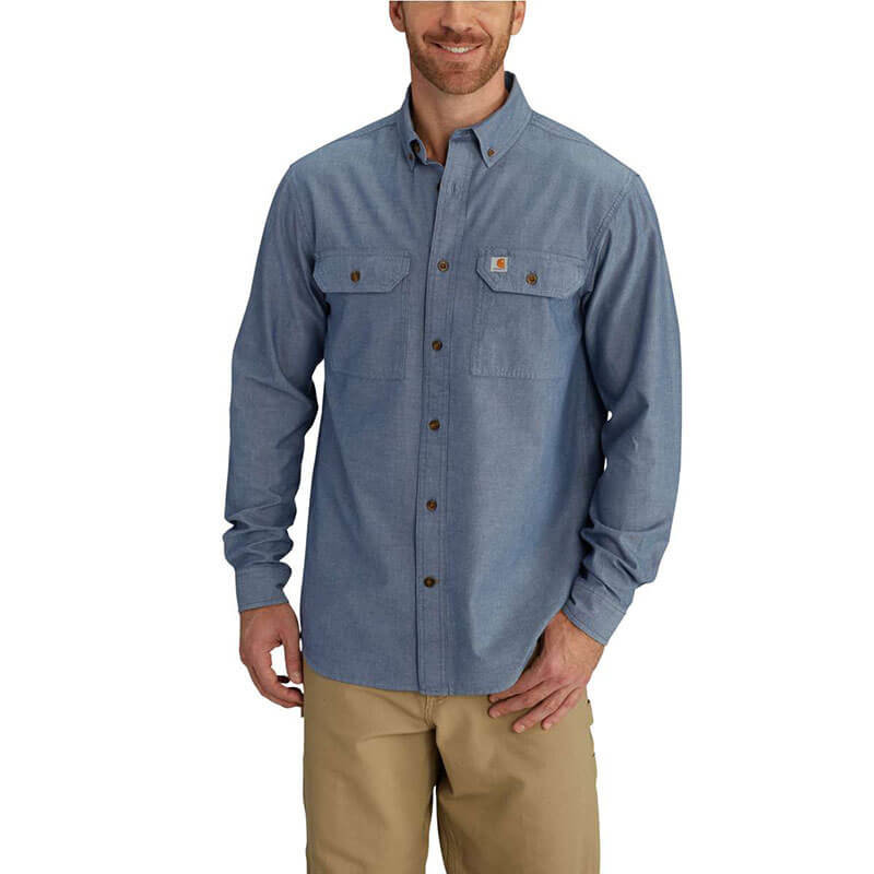 Carhartt Men's Fort Solid Chambray Long-Sleeve Shirt - S202 - CLOSEOUT