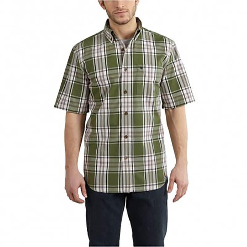 Carhartt Men's Essential Plaid Button Down Short Sleeve Shirt101552 - CLOSEOUT