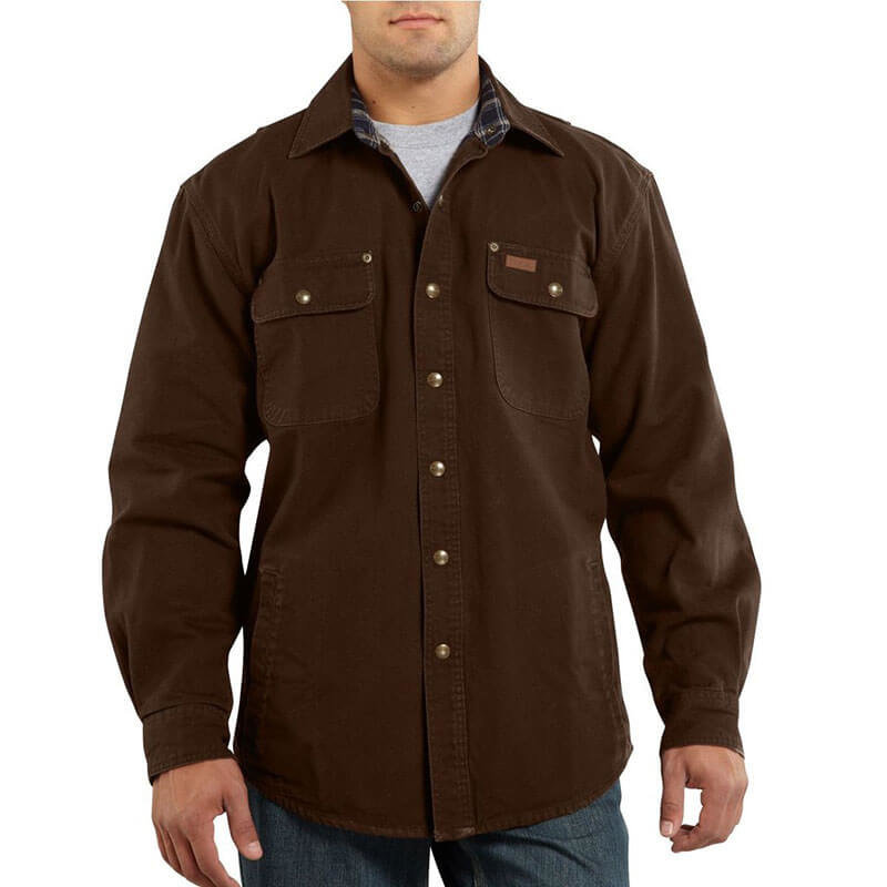 Carhartt Flannel Lined Canvas Shirt Jacket - S296 - CLOSEOUT