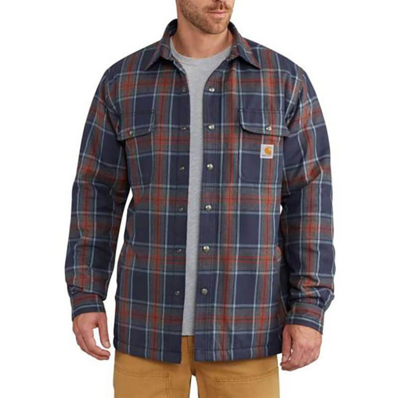 Carhartt Hubbard Sherpa Lined Plaid Long Sleeve Shirt Jac 102333 - CLOSEOUT