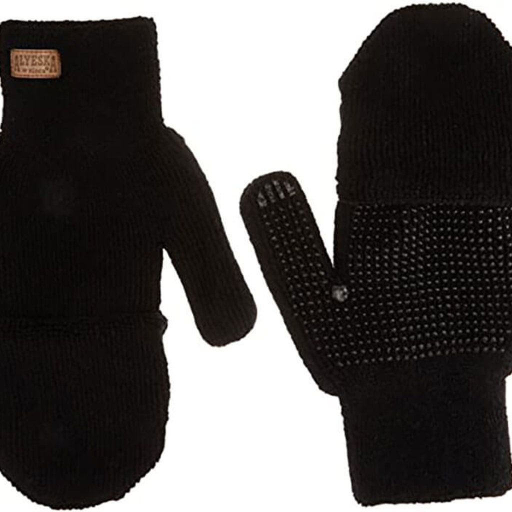 Kinco Alyeska® Lined Black Half-Finger with Convertible Mitt Hood 5110