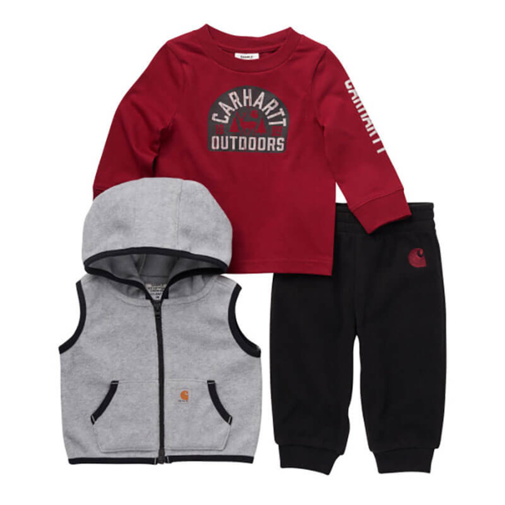 Carhartt CG8787 - Knit Long-Sleeve Graphic T-Shirt, Fleece Hooded Vest And Sweatpant Set