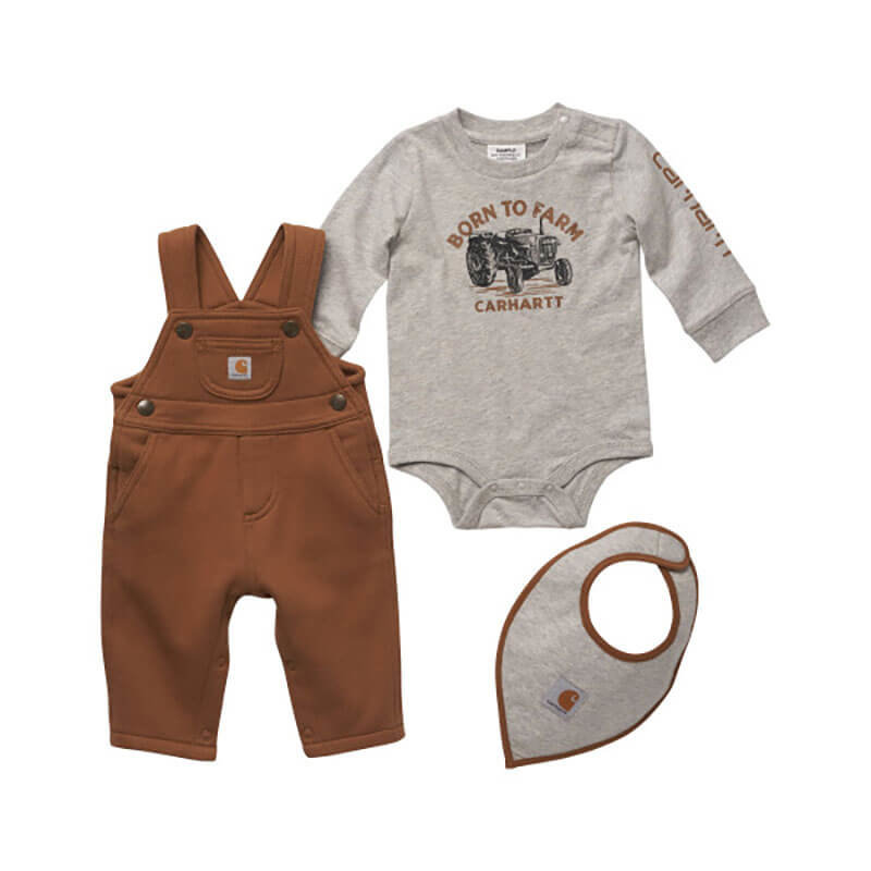 Carhartt CG8774 - Knit Long-Sleeve Farm Bodysuit, Fleece Overall &Knit Bib Set