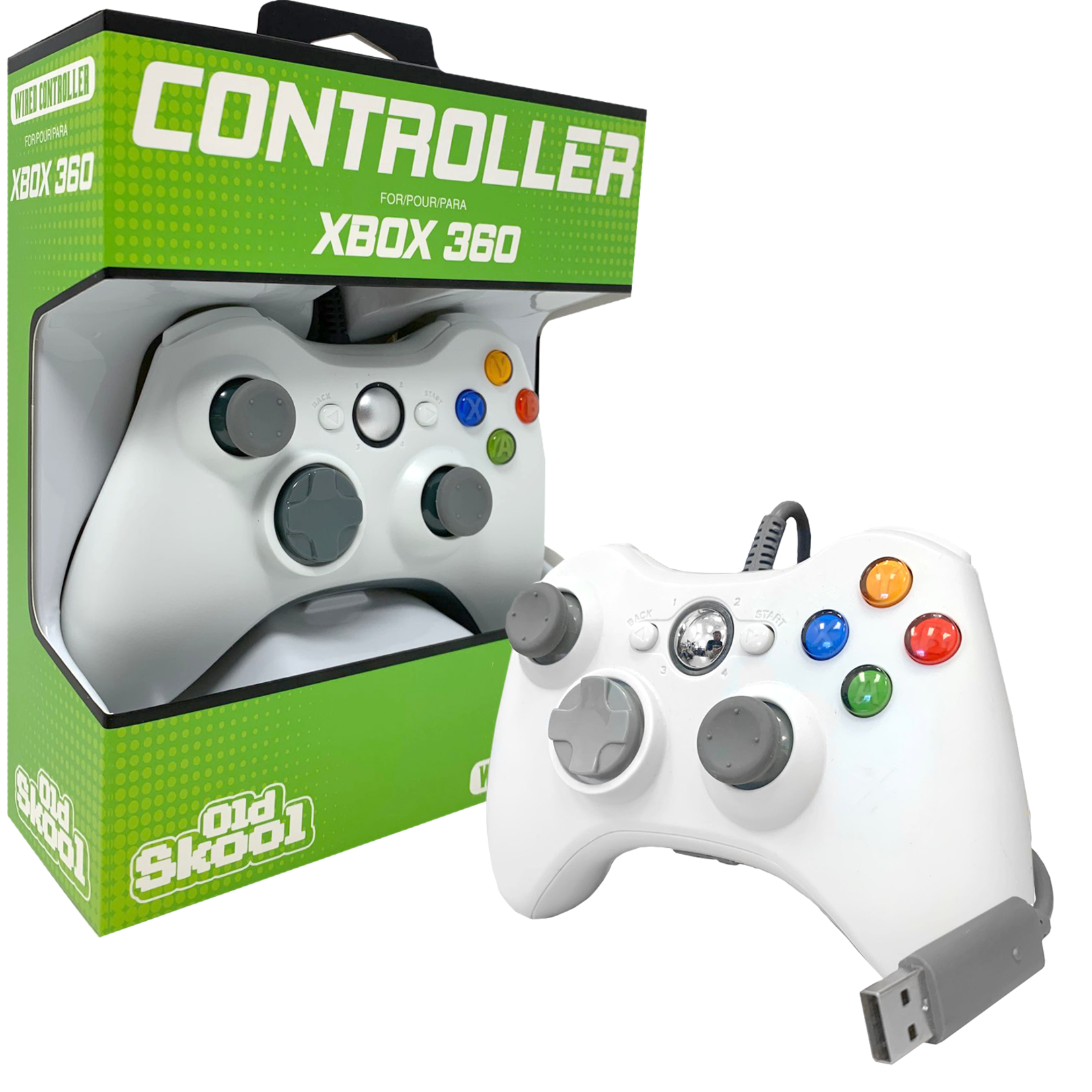 Wired Xbox 360 Controller - White - Old Skool