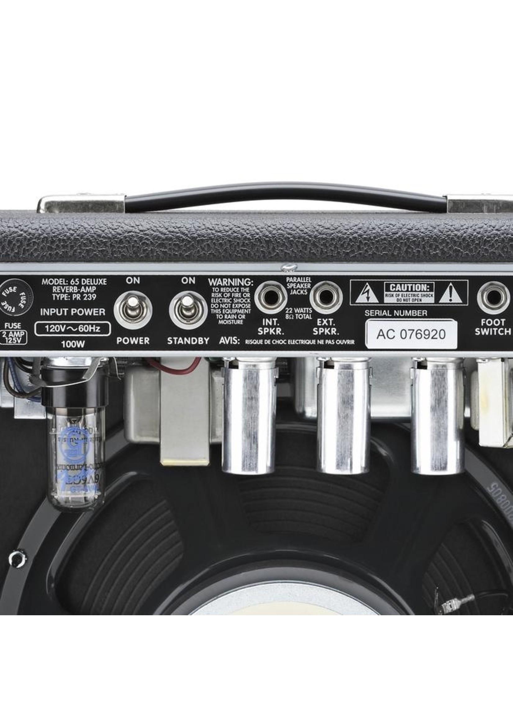Fender Fender '65 Deluxe Reverb 120V 22-Watt Guitar Amp Black/Silver
