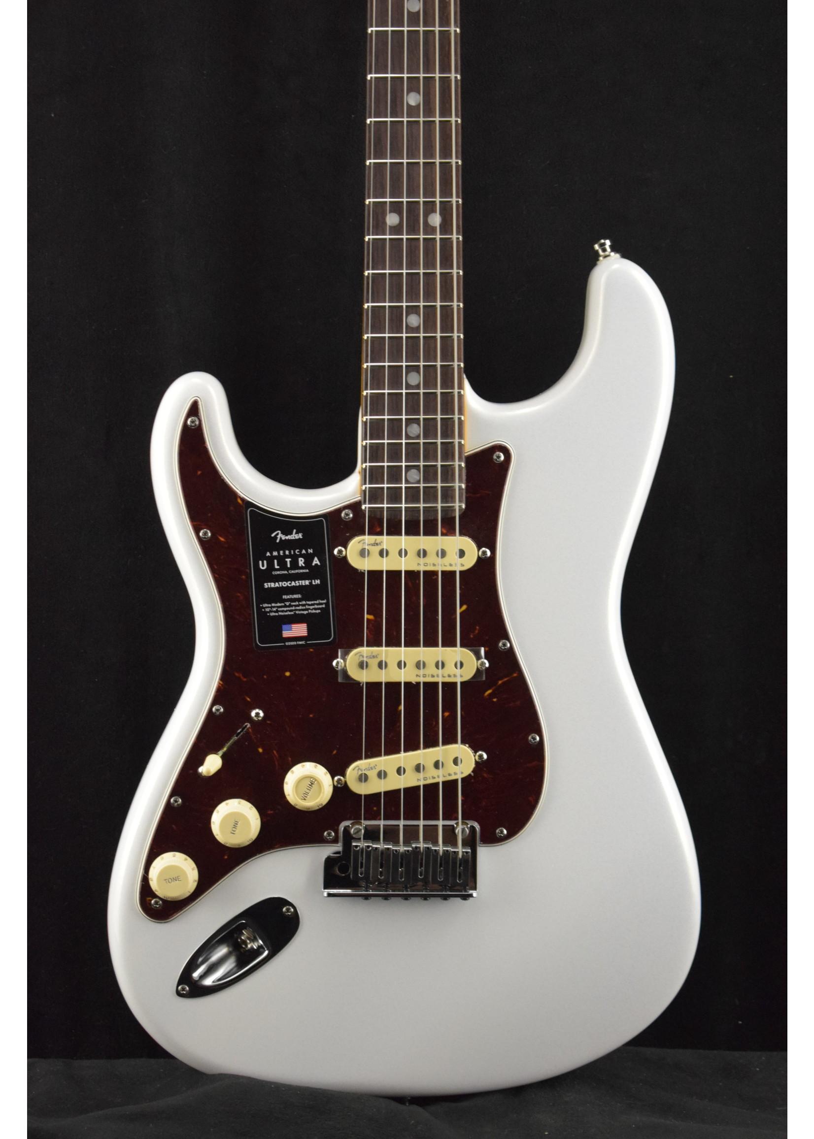 Fender Fender American Ultra Stratocaster Left-Handed Arctic Pearl Rosewood Fretboard