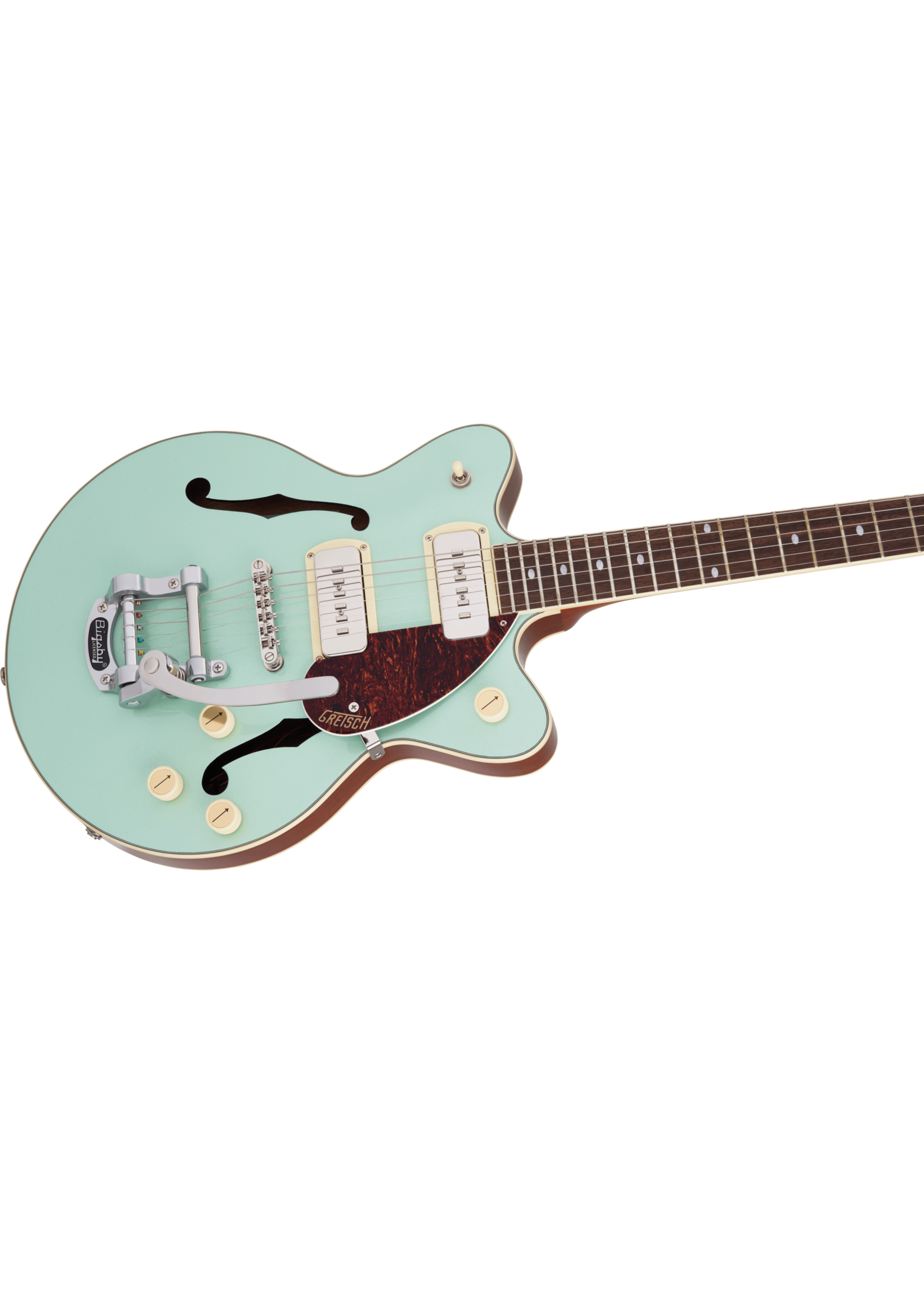 Gretsch Gretsch G2655T-P90 Streamliner Center Block Jr. Double-Cut P90 with Bigsby Two-Tone Mint Metallic and Vintage Mahogany Stain