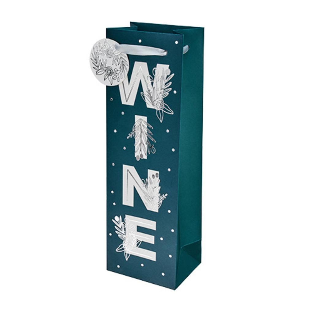 Floral WINE Gift Bag -- Single