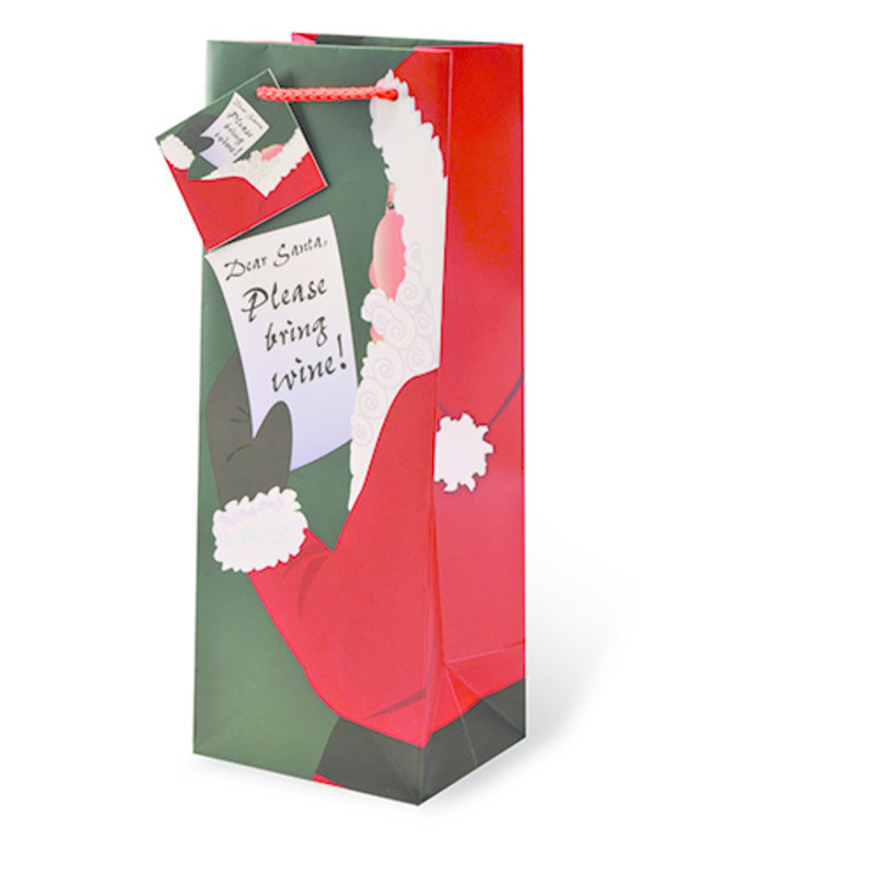 Santa Please Bring Wine Single Gift Bag