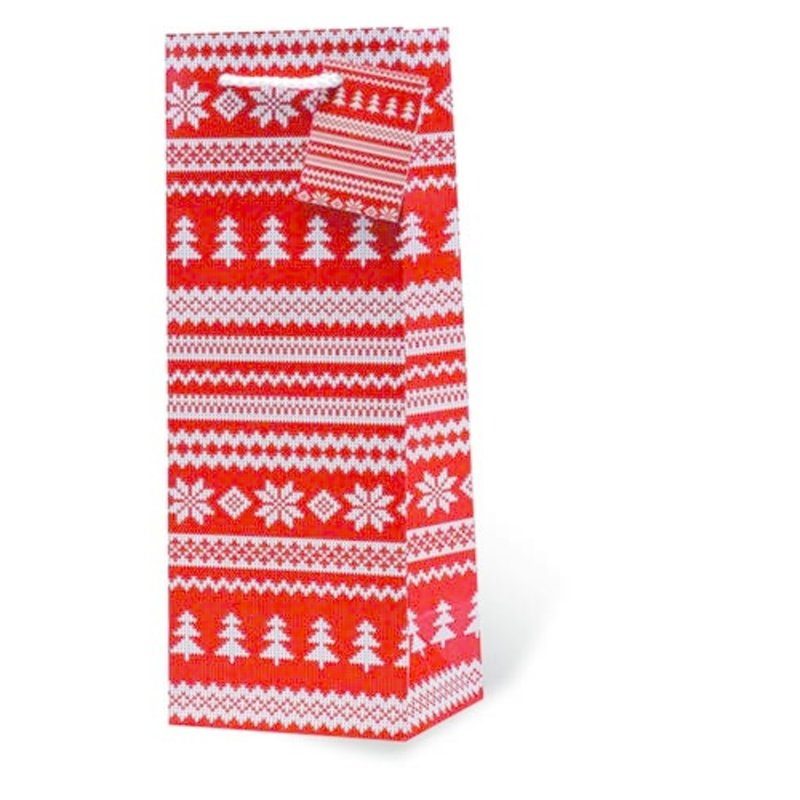 Red Holiday Sweater Single Gift Bag