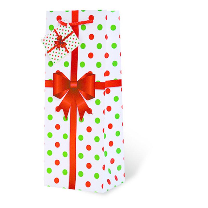 Polka Dot Holiday Gift Bag Single