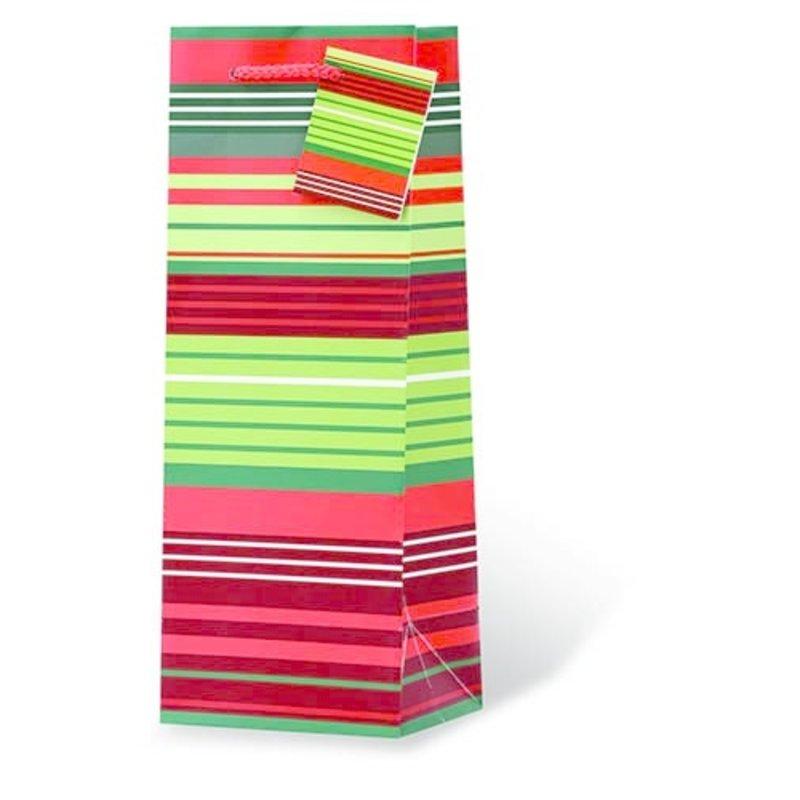Christmas Stripes Single Gift Bag