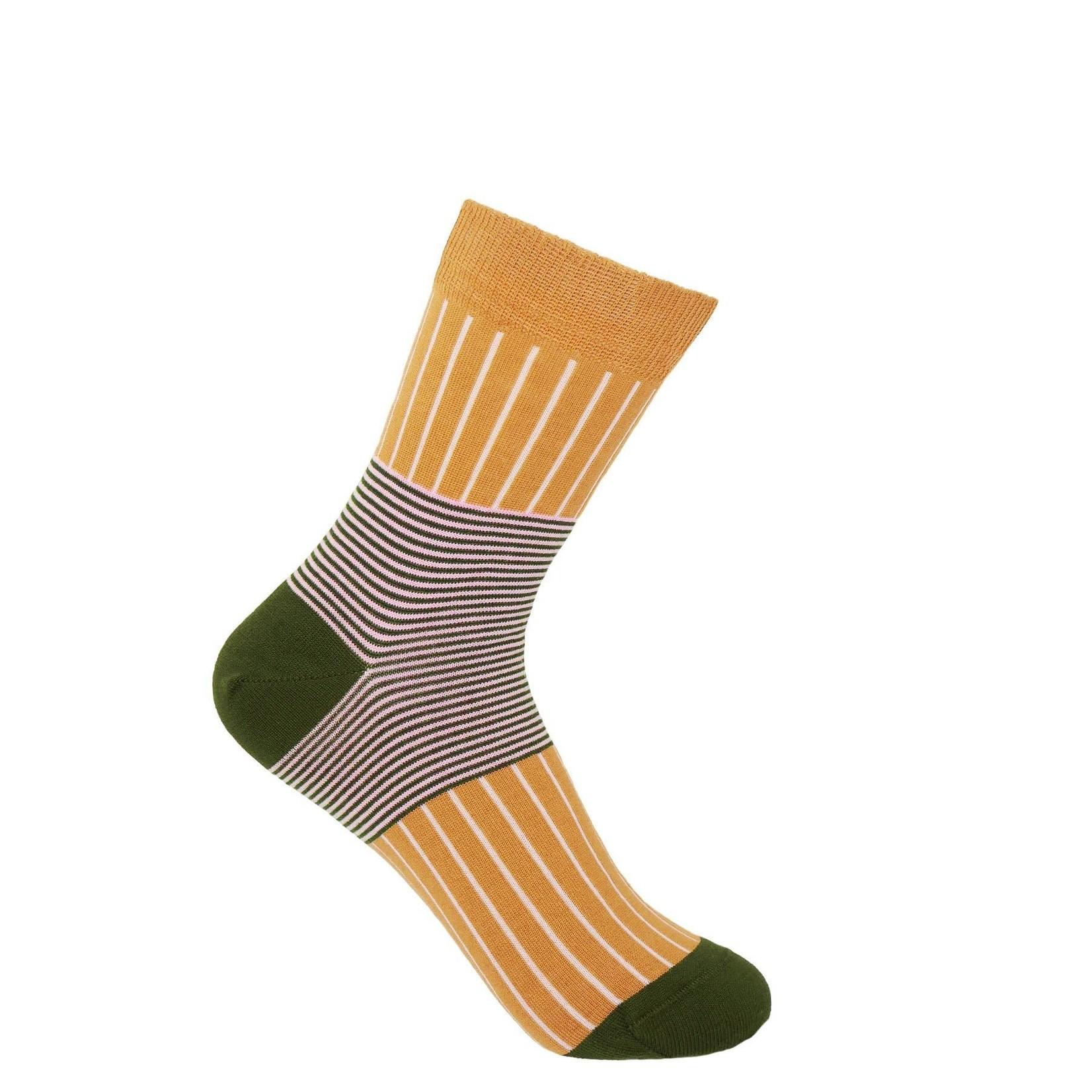 Peper Harow Oxford Stripe Socks Mustard