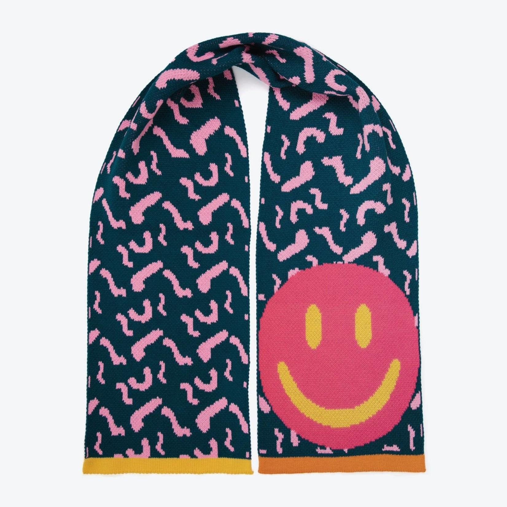 Miss Pom Pom Teal Smiley Scarf