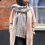 Lisa Angel Check Blanket Scarf Mustard and Green