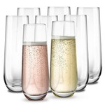 FK Living Kook Glass Stemless Champagne Flutes, 10.5 oz, Set of 8