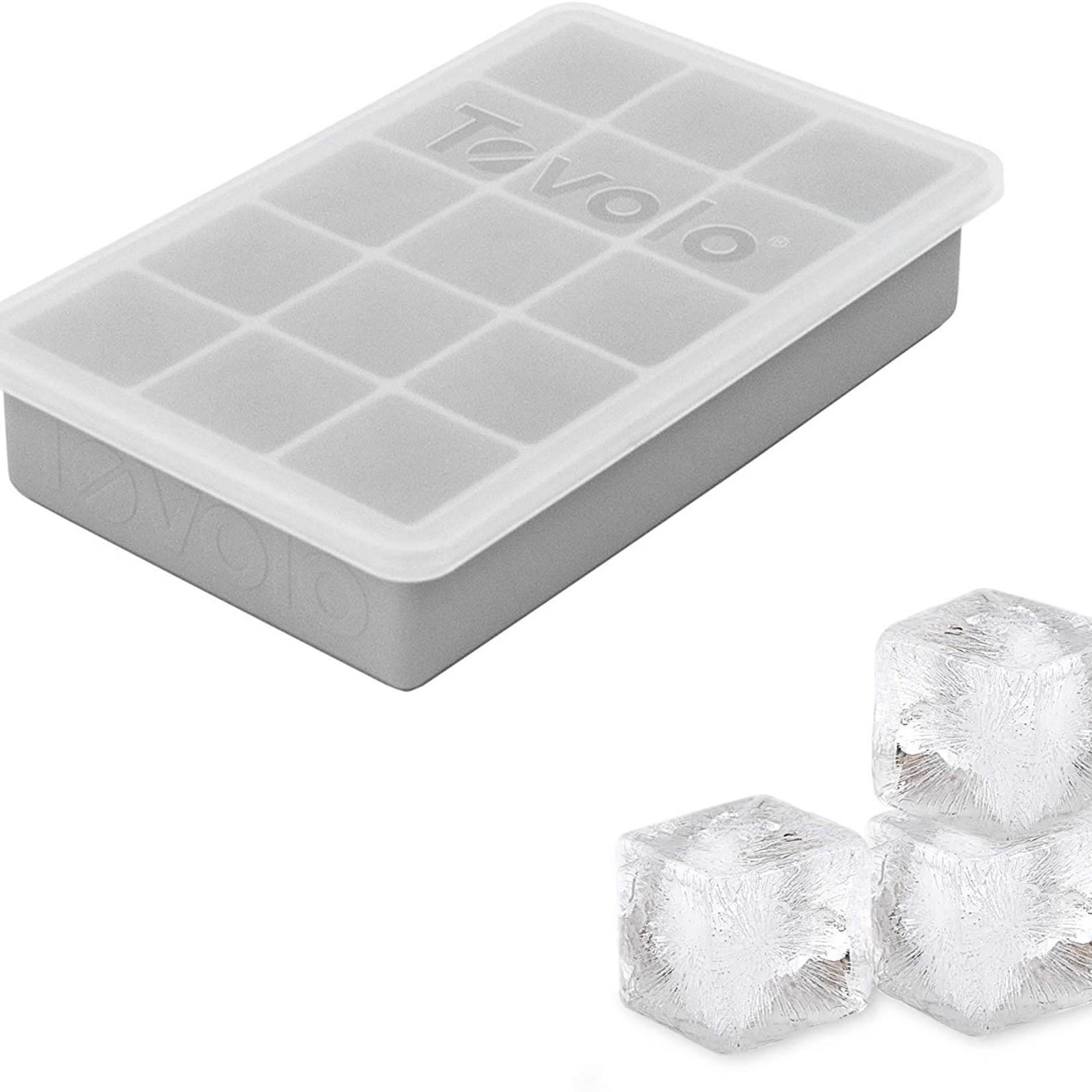 Tovolo Perfect Cube Ice Tray with Lid Oyster Grey