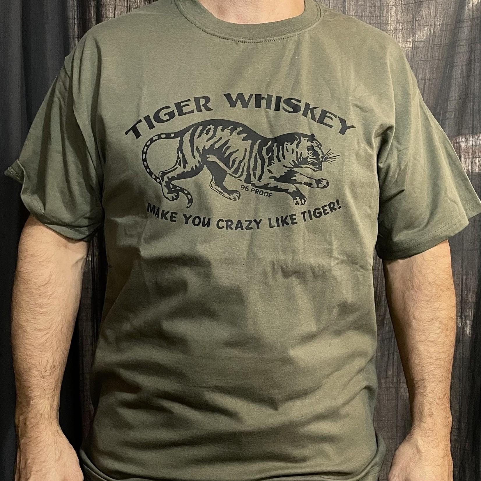 Modern Drunkard Roaring Tiger Whiskey T-Shirt Green