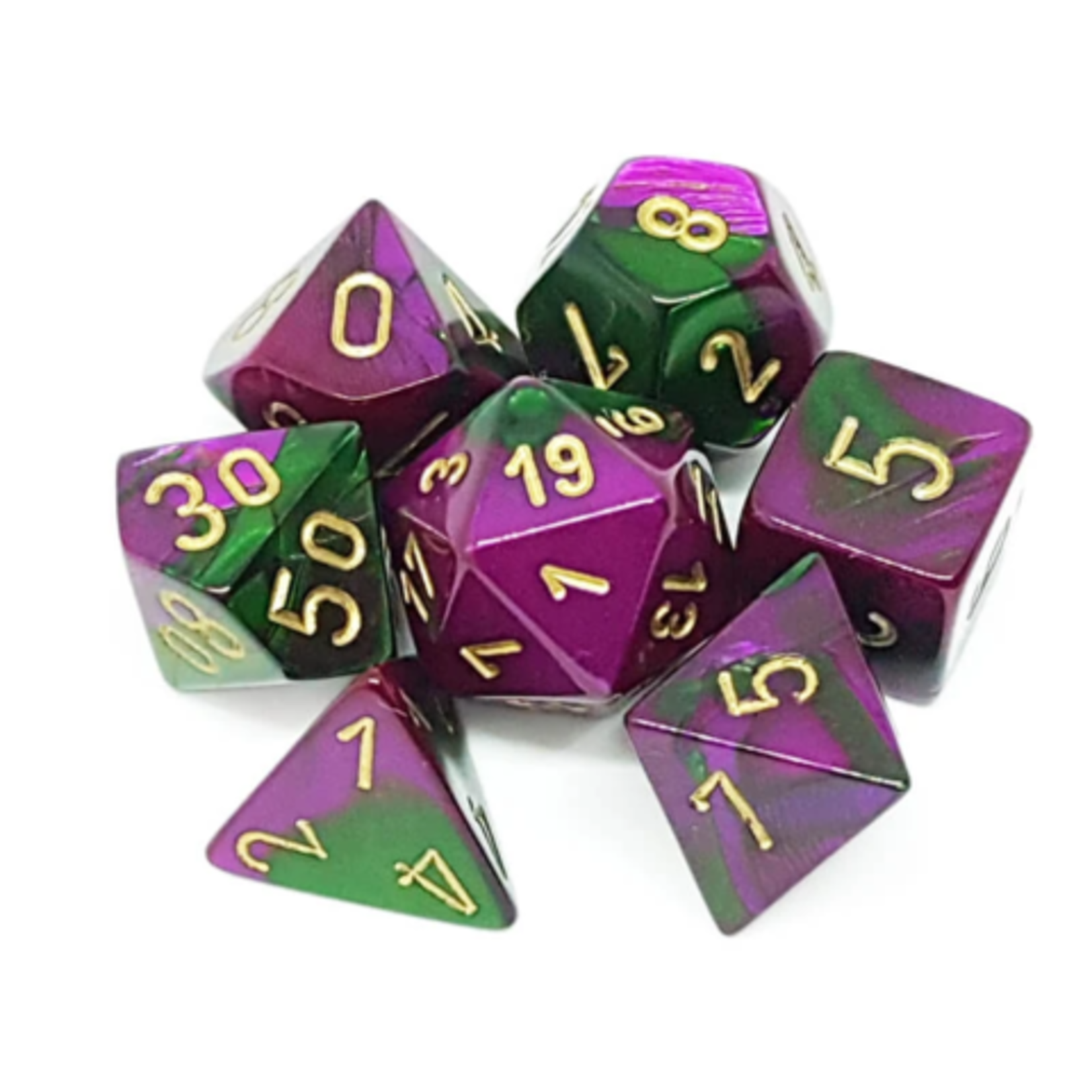 Chessex Polyhedral Gemini Green and Purple with Gold