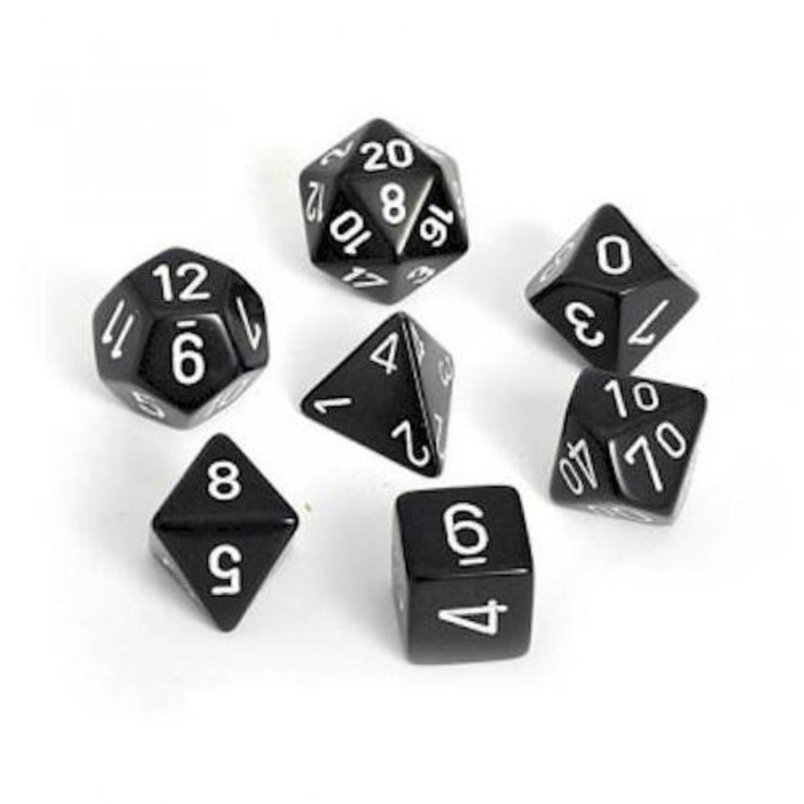 Chessex 25408 Opaque Polyhedral Set Black with White