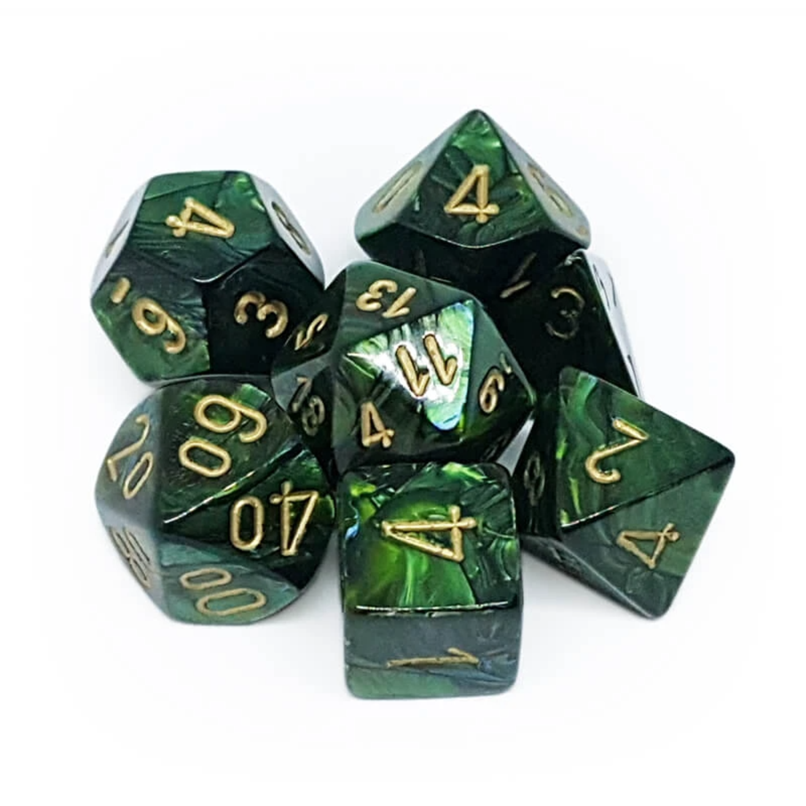 Chessex 27415 Scarab Polyhedral Jade with Gold