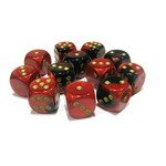Chessex Gemini 16mm D6 Black and Red with Gold