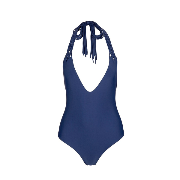 Mikoh Swimwear Mikoh 1PC Mediterranean Fuller Coverage Macrame Detail V-Cut Halter