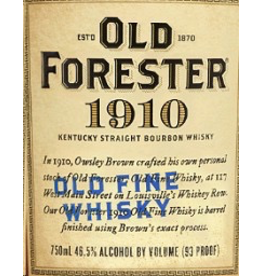 Bourbon Whiskey Old Forester 1910 Old Fine Whisky 93 Proof 750ml