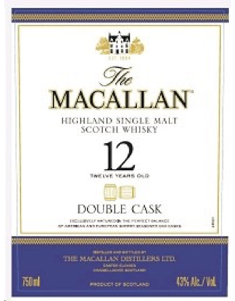 Single Malt Scotch Macallan 12 year Double Cask 1.75liter