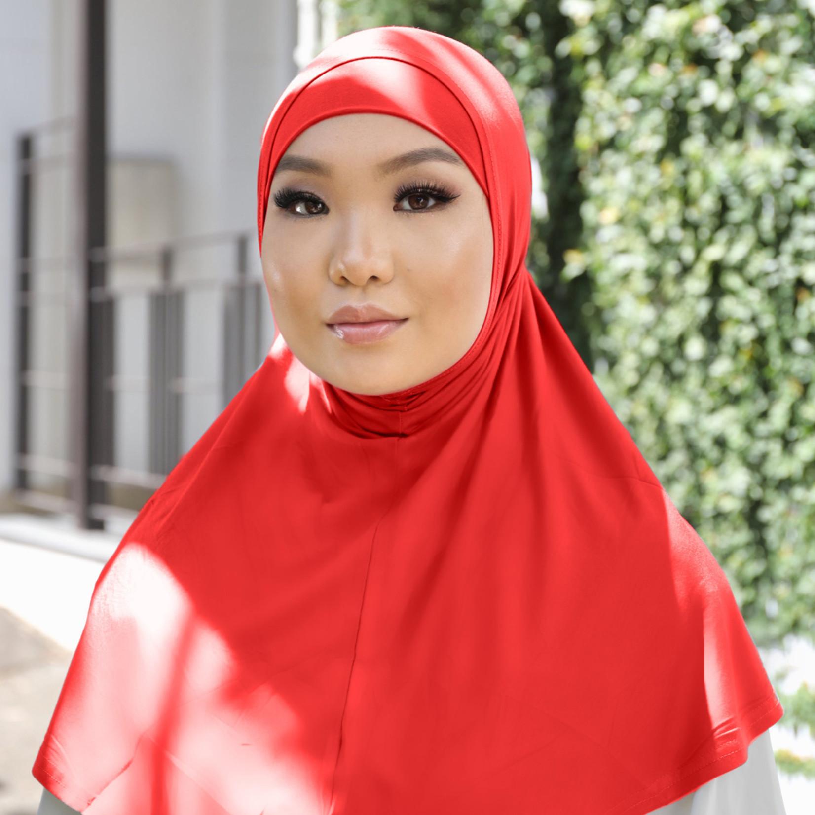 Nasiba Fashion 2pc Hijab Bright red (J)
