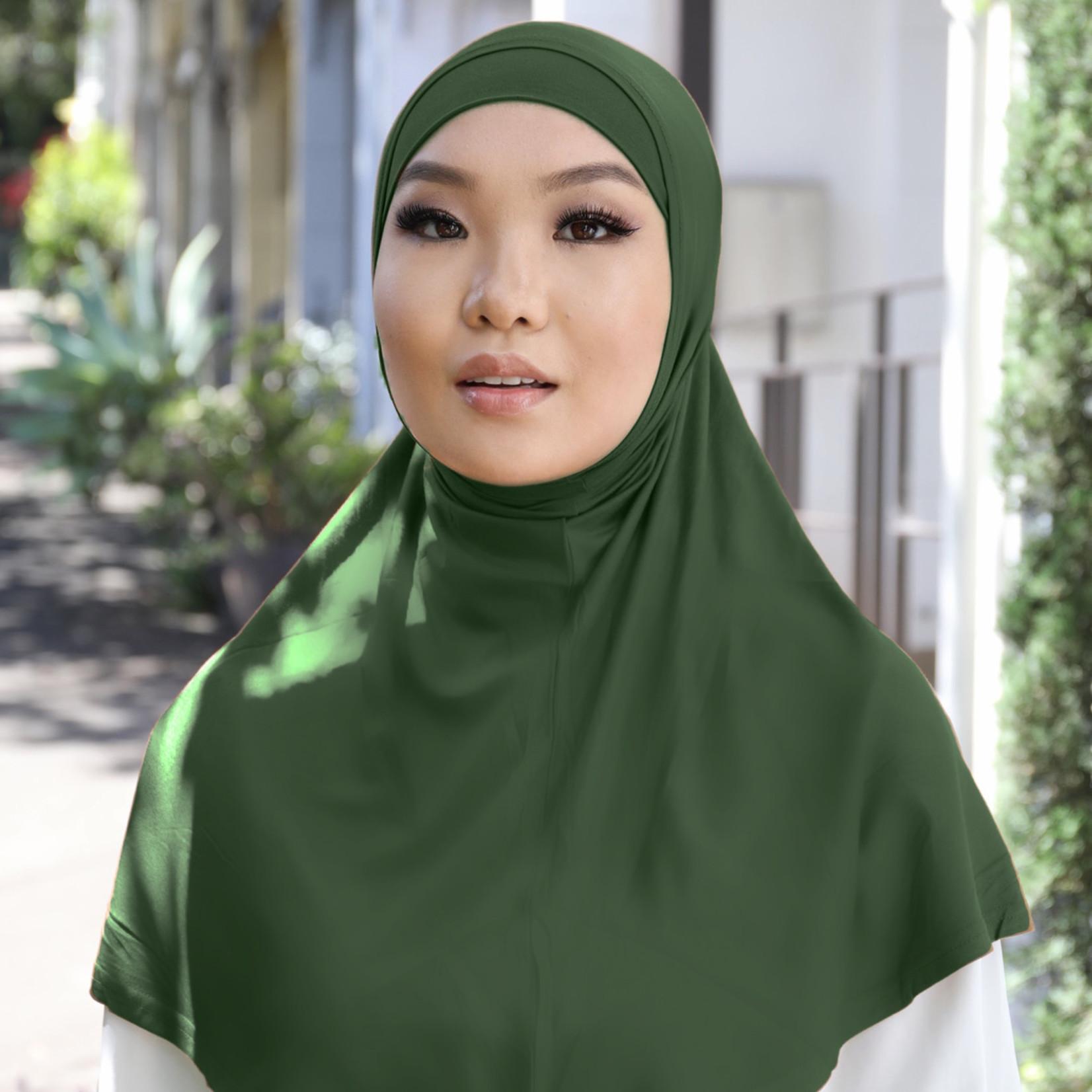 Nasiba Fashion 2pc Hijab Bottle green (J)