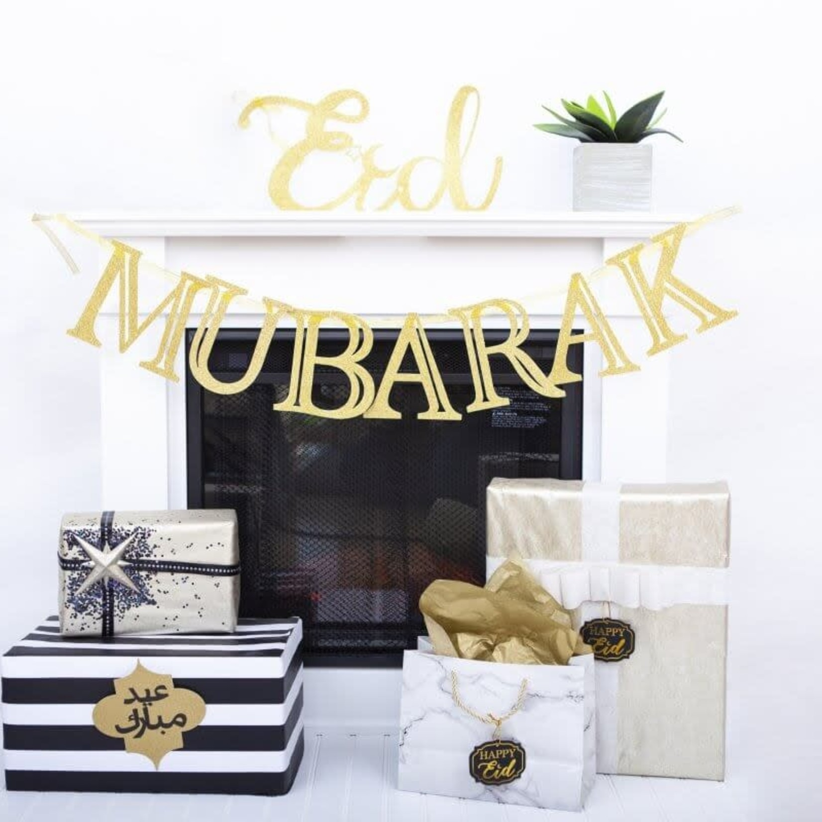 Eid Creations Gold Sparkle Mubarak Banner