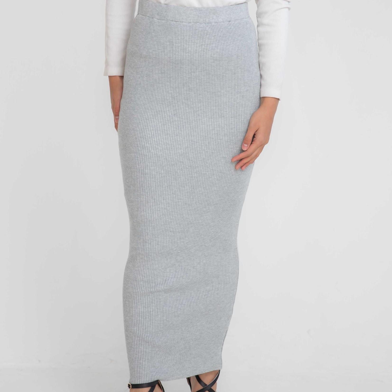 Nasiba Fashion Light Grey Ribbed Skirt