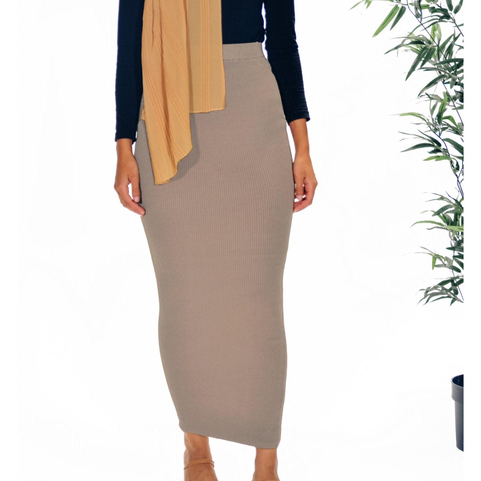 Nasiba Fashion Taupe Ribbed Skirt