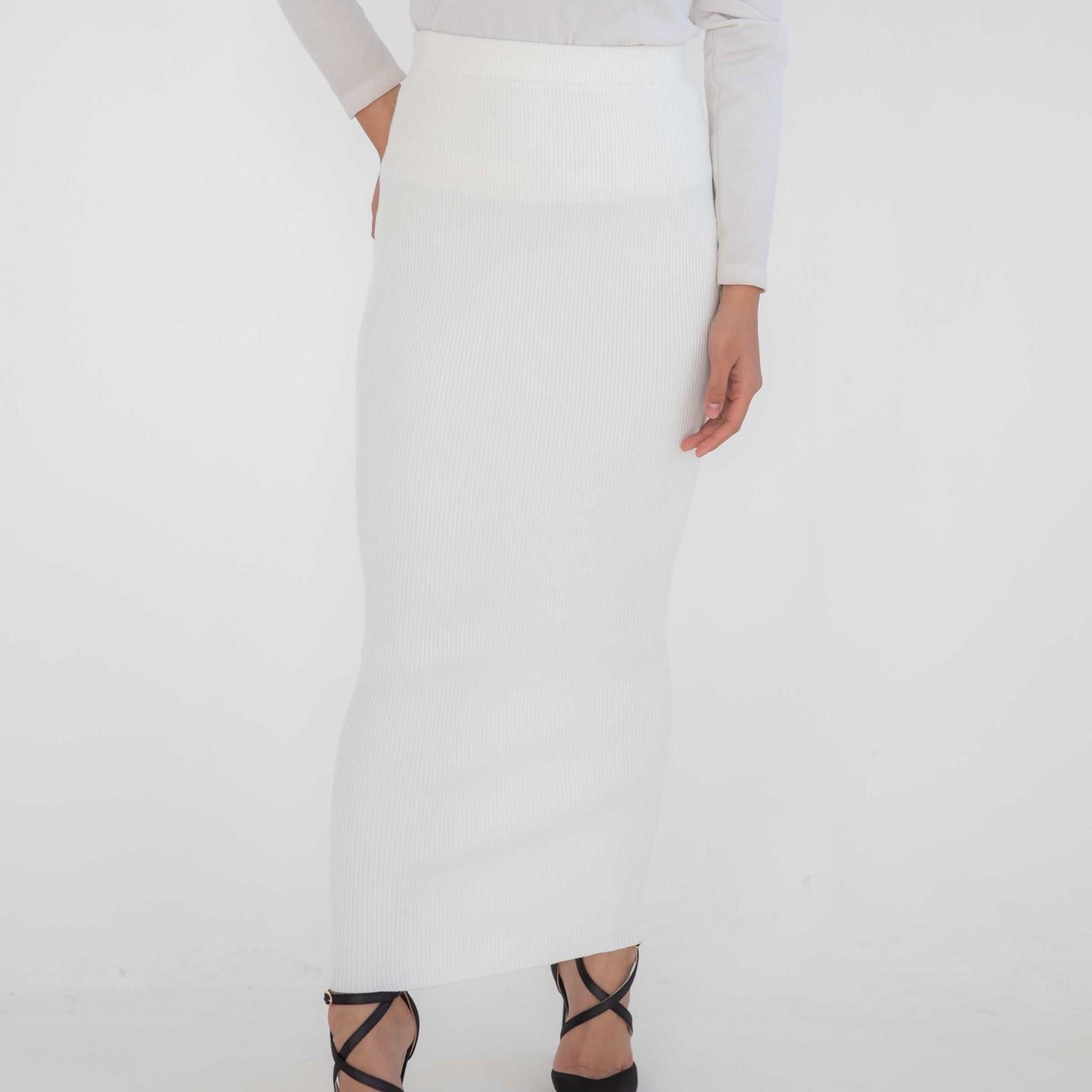 Nasiba Fashion Ivory Ribbed Skirt